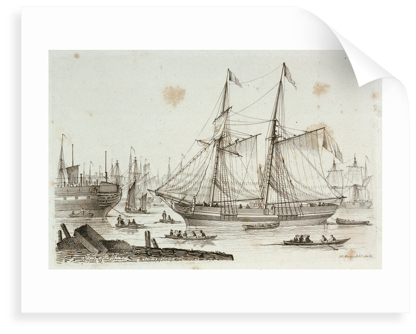 Sketches of shipping drawn and etched by Henry Moses: hulks at Sheerness by Henry Roses