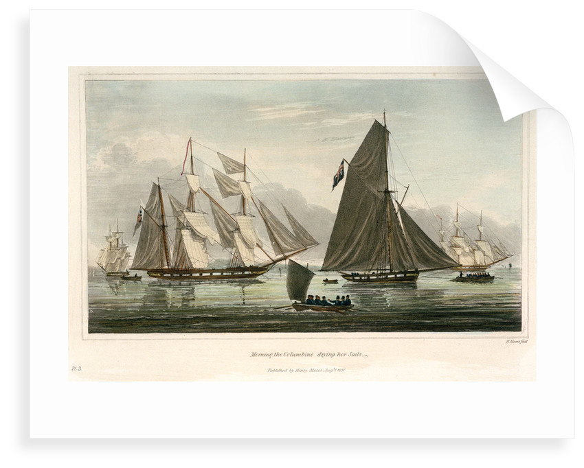 Six views of the 'Columbine' and The Experimental Squadron. Plate No. 3 by Henry Moses