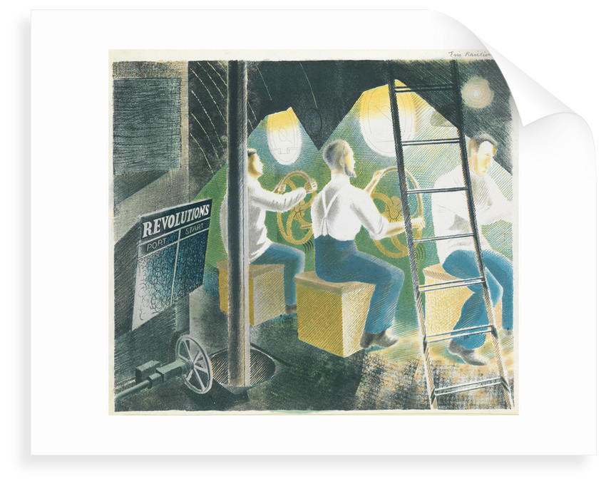 Diving controls two, three men at controls by Eric Ravilious