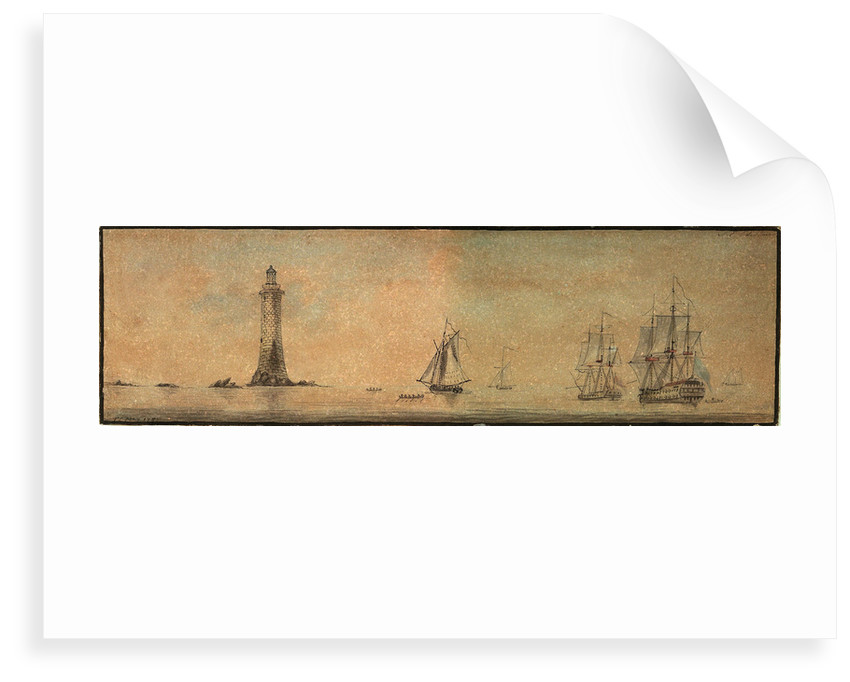 Eddystone lighthouse from the southeast, with fighting vessels by T.C. May