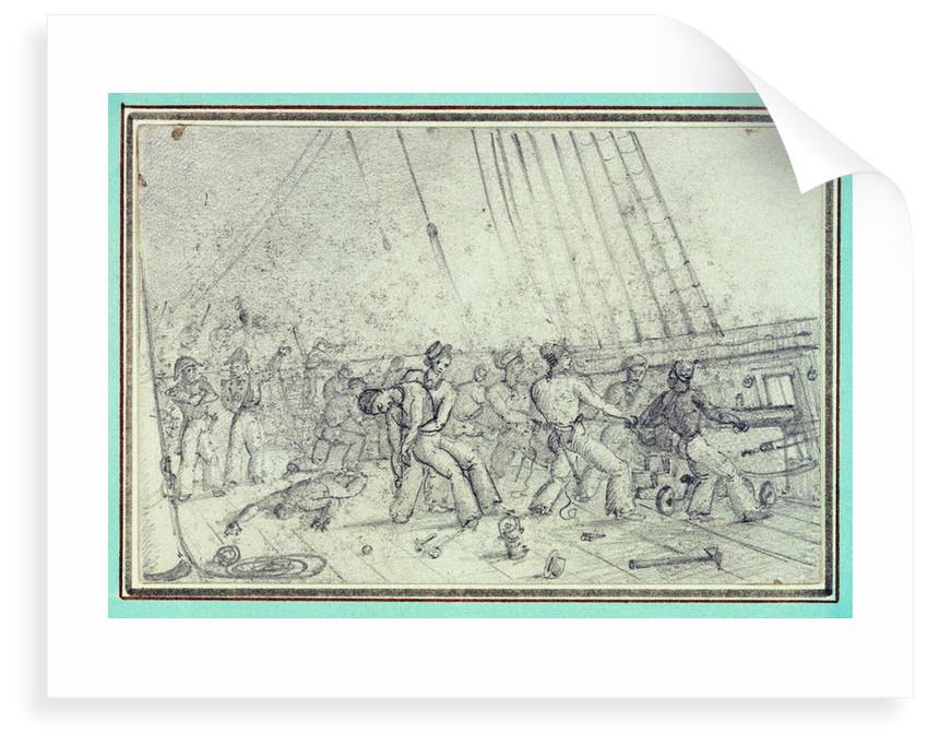 Shipboard scene of men firing canons by unknown