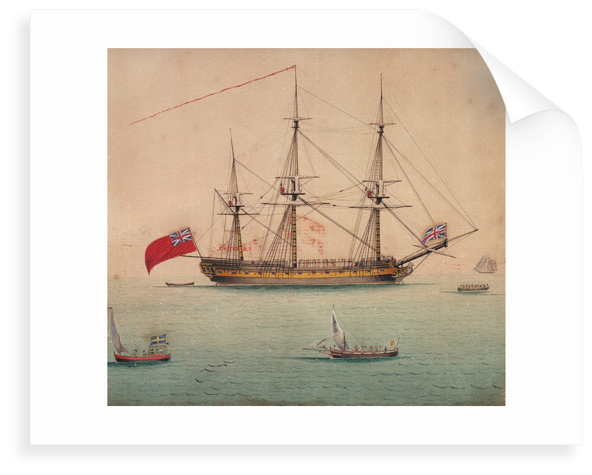 A frigate at anchor by Foreign School