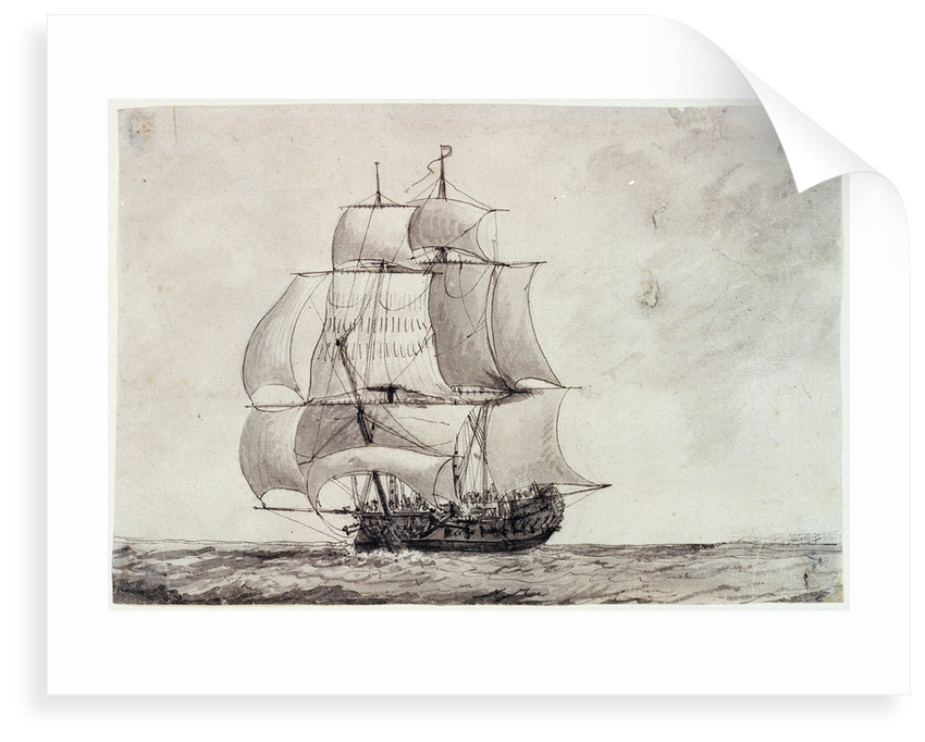 Frigate under full sail by Charles Gore
