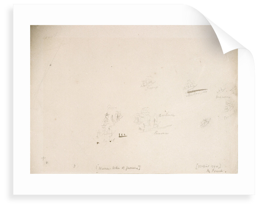 Sketch plan showing position of warships during Sir John Warren's action off the Channel Islands, 23 April 1794 by Nicholas Pocock