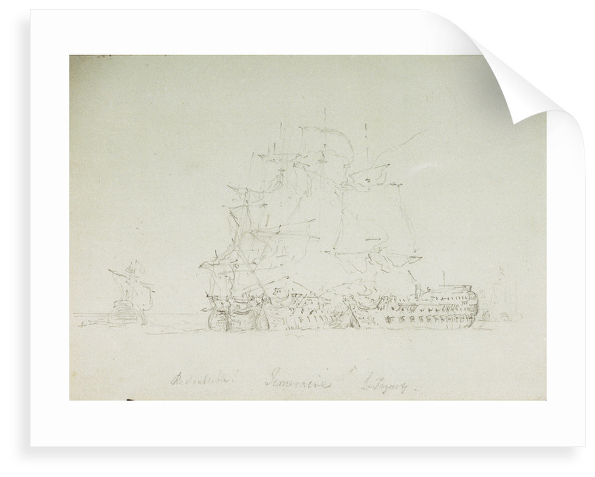 The Battle of Trafalgar, 21 October 1805: 'Redoutable', 'Temeraire' and 'Fougeux' by Nicholas Pocock