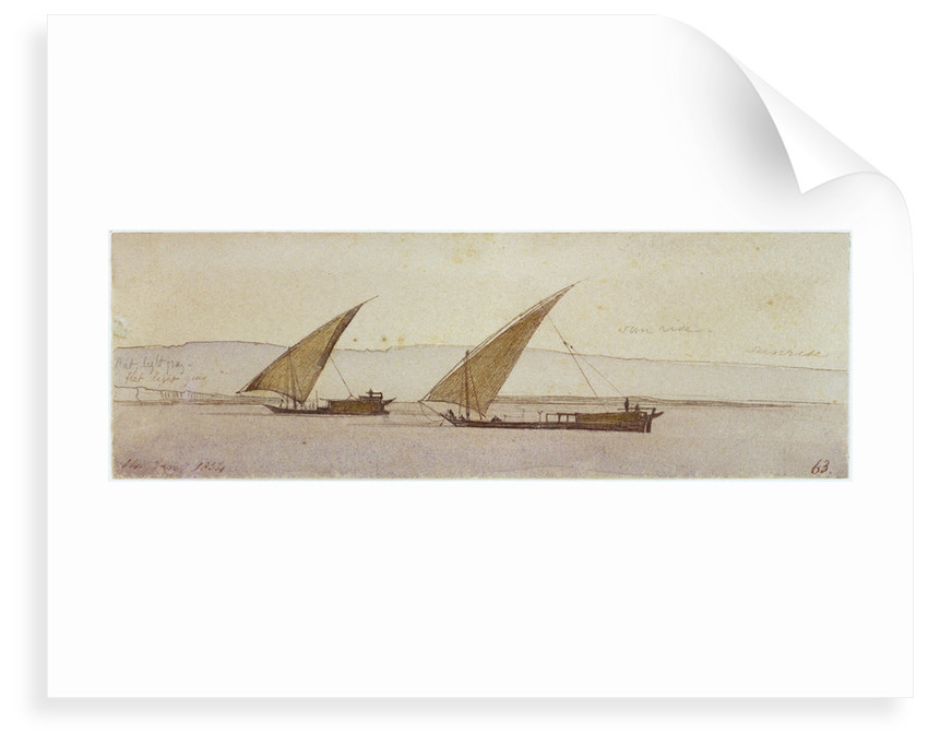 The banks of the Nile with two gyassis sailing by Edward Lear