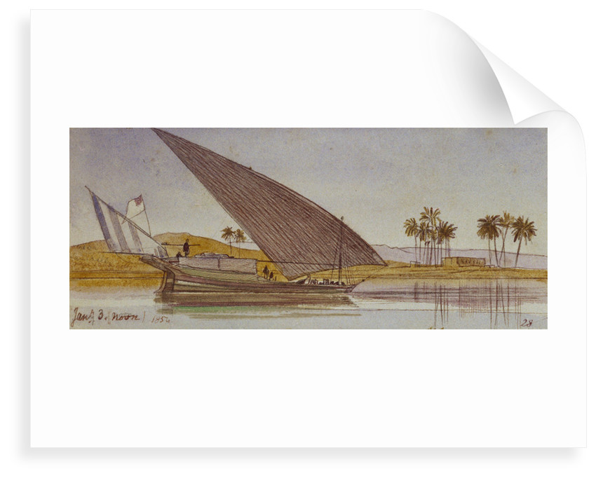 The banks of the Nile with a large gyassi passing by by Edward Lear