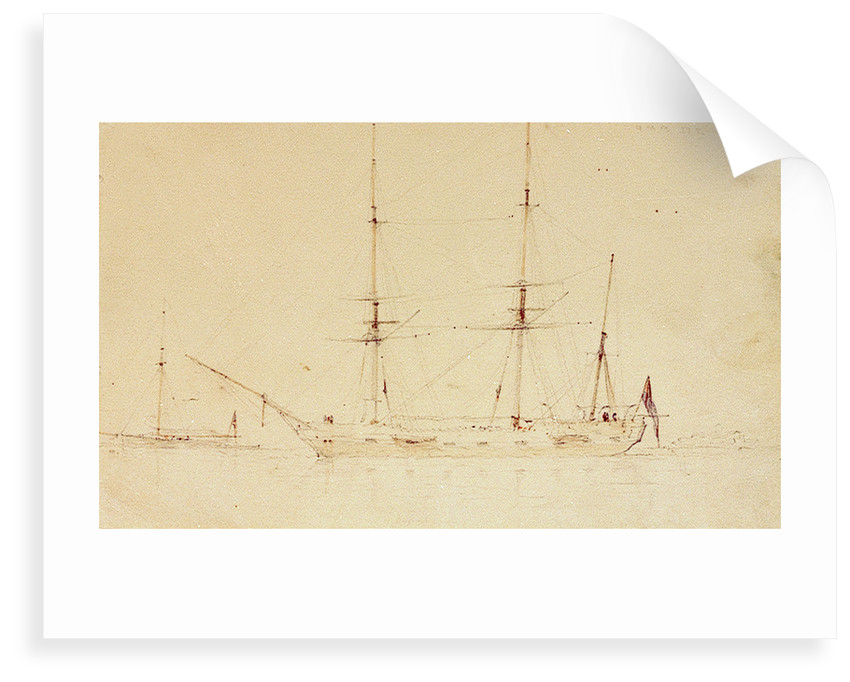 HMS 'Beagle' at anchor in a calm by Oswald Walter Brierly