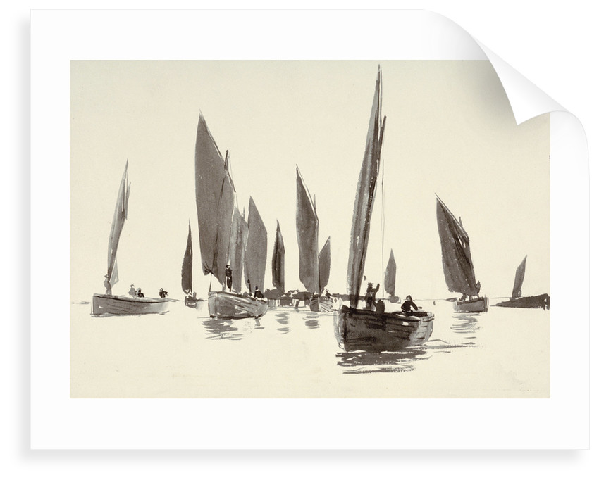Sketch of small sailing craft with lug sails by William Lionel Wyllie