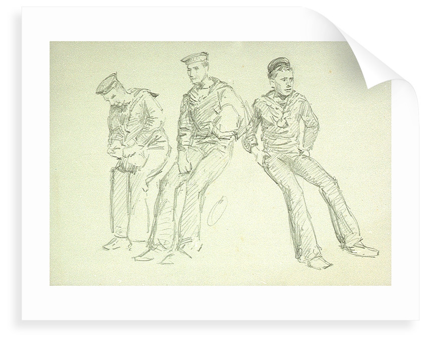 Sketch of three ratings relaxing, numbered (ix) by William Lionel Wyllie