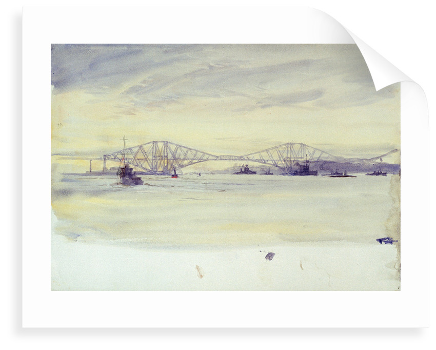 View of the Forth? bridge and various shipping by William Lionel Wyllie