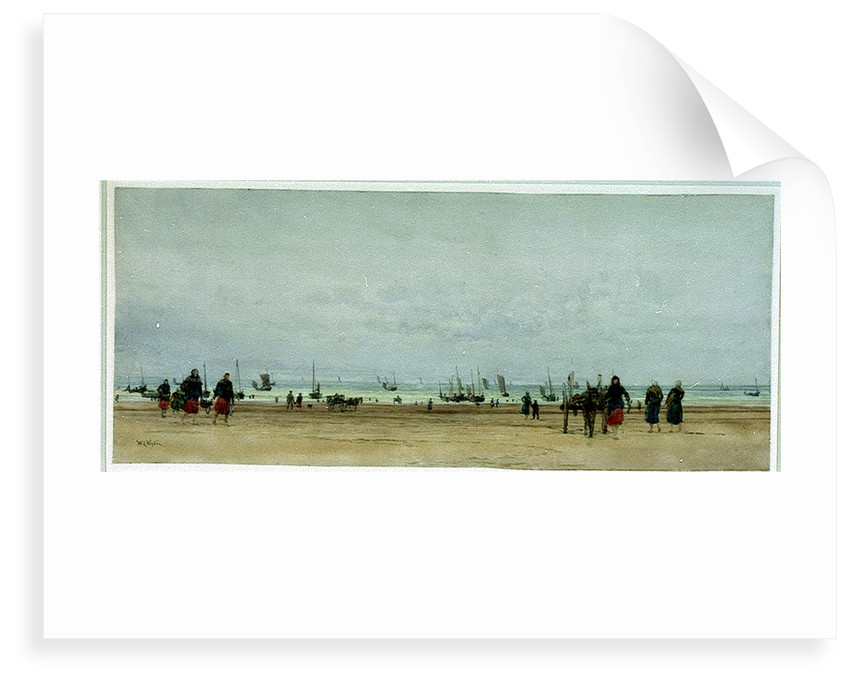 Beach scene with figures, donkey and cart, and small sailing vessels in the sea by William Lionel Wyllie