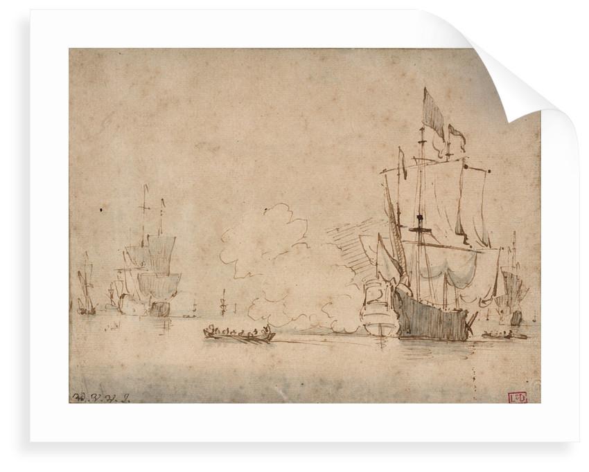 A flagship becalmed firing a salute by Willem Van de Velde the Younger