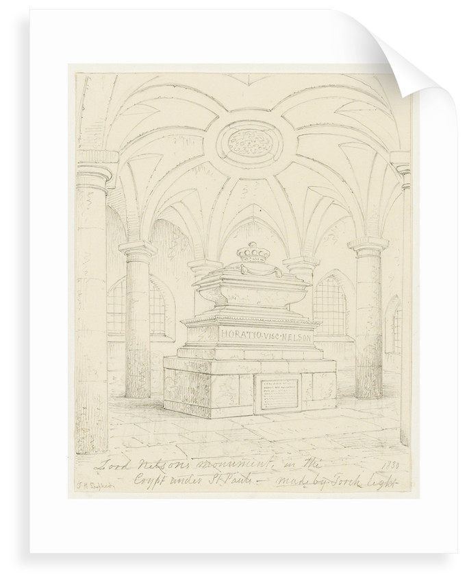 Nelson's tomb in the crypt of St Paul's by Thomas Hosmer Shepherd