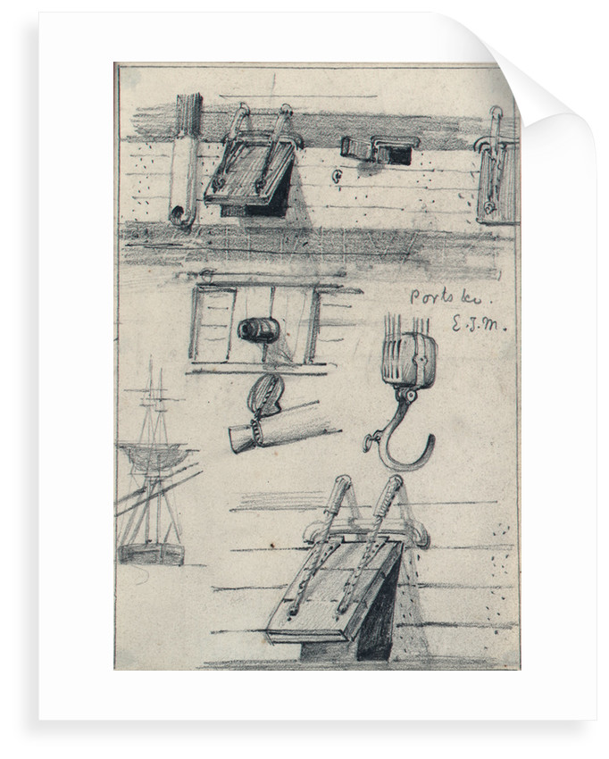 Studies of gun ports and four part block of an East Indiaman and a brig seen from ahead with lower yards cockbilled by Edward William Cooke