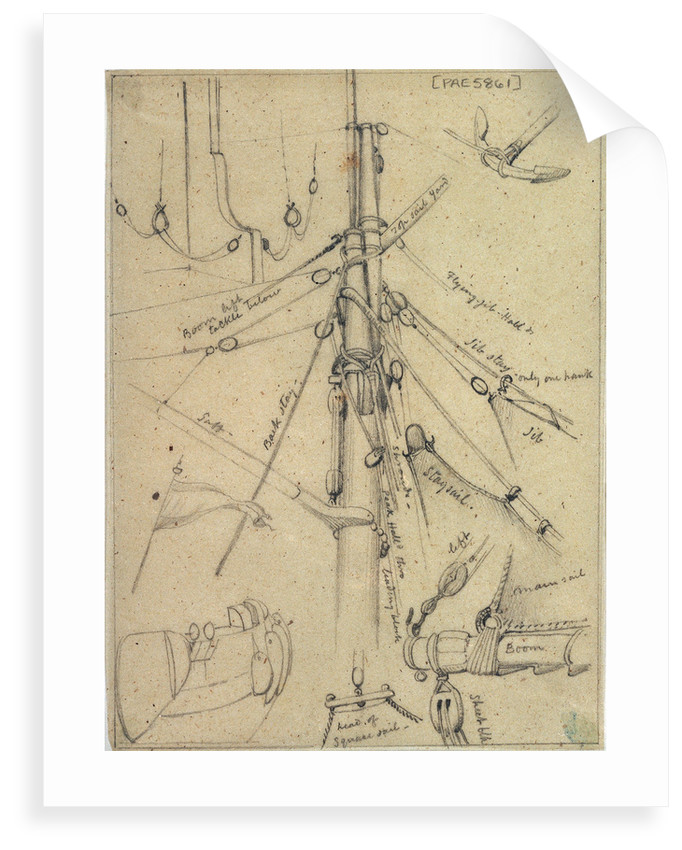 Rigging and other details probably relating to 951; including the main mast head, rudder tackle, anchor and flag by Edward William Cooke