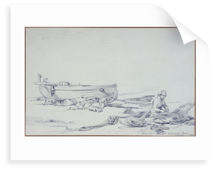 A beached boat (No.30) in Catalan Bay, Gibraltar, with three recumbent figures and one fisherman mending nets by Edward William Cooke