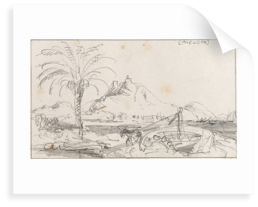 A rough sketch of a harbour with a mule working a well, and a hill and castle behind, possibly Alicante by Edward William Cooke