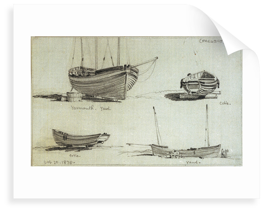 A three masted yawl, a two masted yawl and two views of a coble on Yarmouth beach by Edward William Cooke
