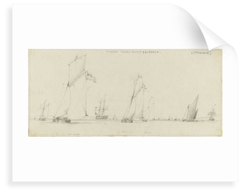 Yacht racing on the Thames. Cutter yachts 'Success', 'Mr Hope', 'Remus' and 'Gnome', with a Thames barge and other shipping by Edward William Cooke