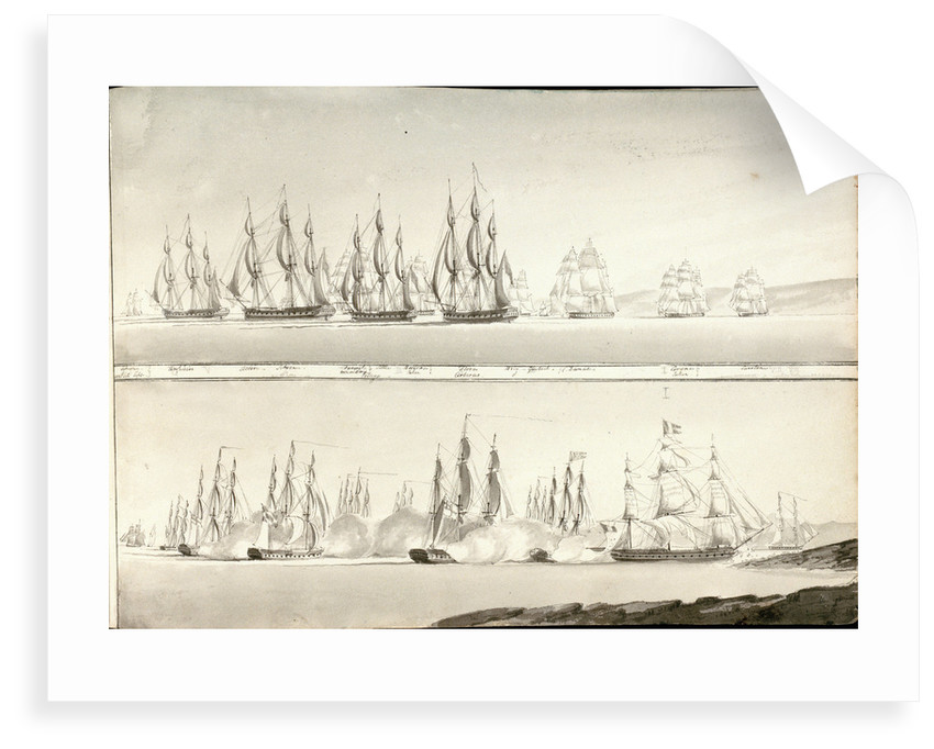 Different modes of painting line of battle ships by William Innes Pocock