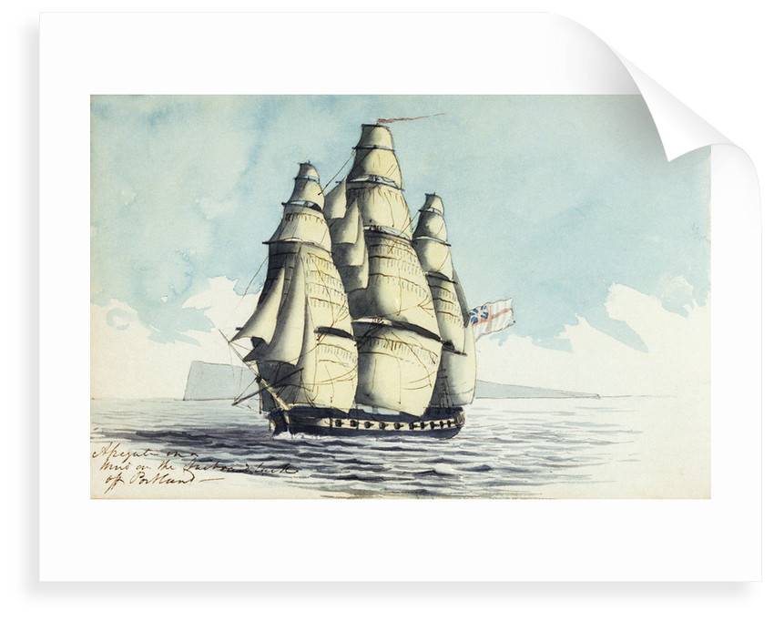 A brig of war on the starboard tack off the Lizard by Henry Studdy
