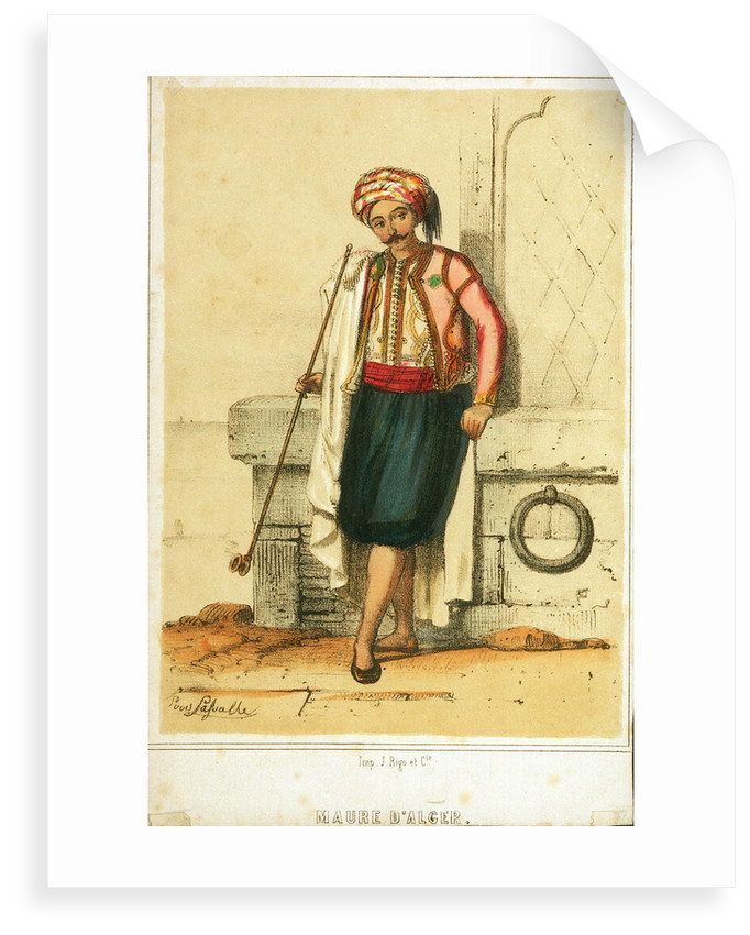 A moor from Algiers smoking a pipe with a view out to sea behind by Puvis Lasvalle