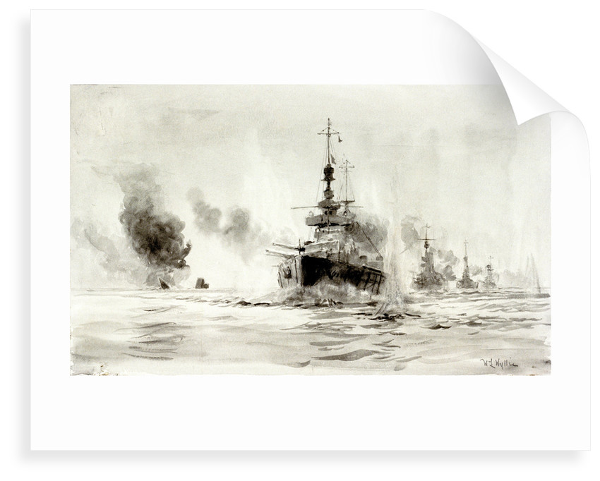 Study of the Battle of Jutland, 31st May 1916: HMS 'Lion' leading battle-cruisers past the wreck of 'Invincible', about 18.40 by William Lionel Wyllie