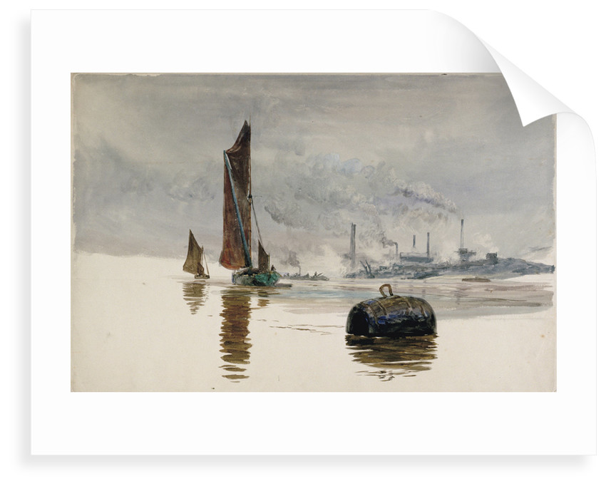 A Thames barge and a cement works by William Lionel Wyllie