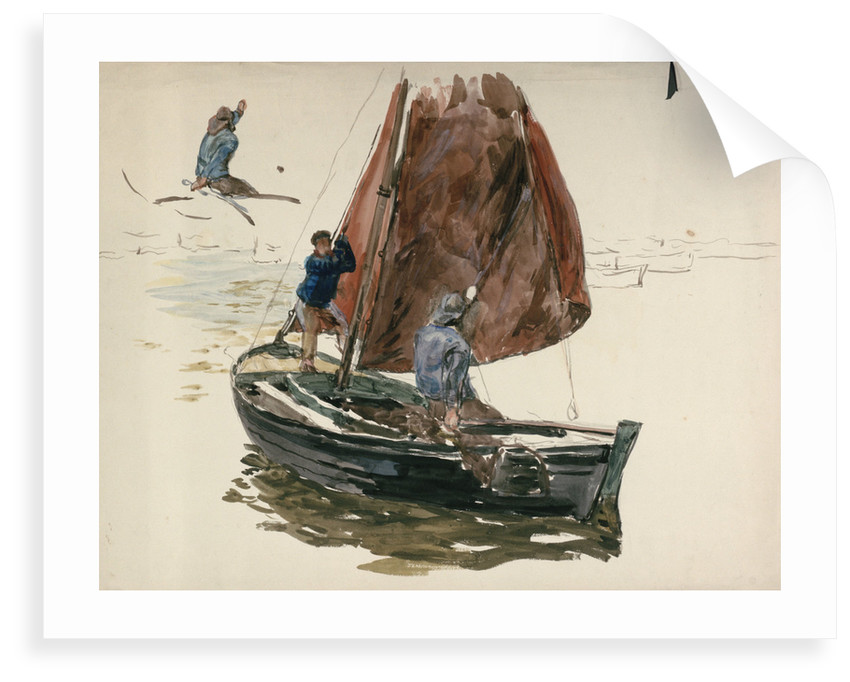 A man and a boy in a small sailing boat by William Lionel Wyllie