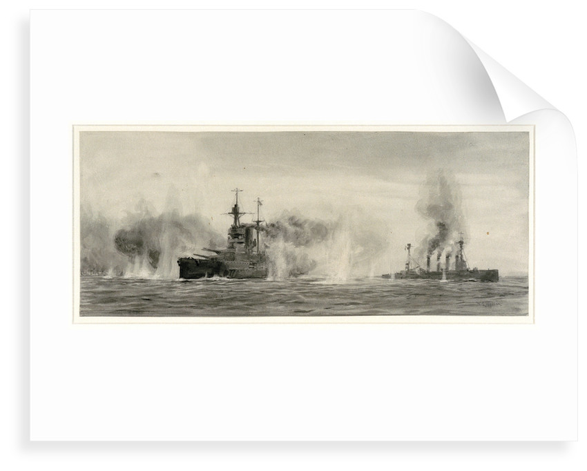 HMS 'Warrior' and 'Warspite' at the Battle of Jutland, 31 May 1916, about 18.25 by William Lionel Wyllie