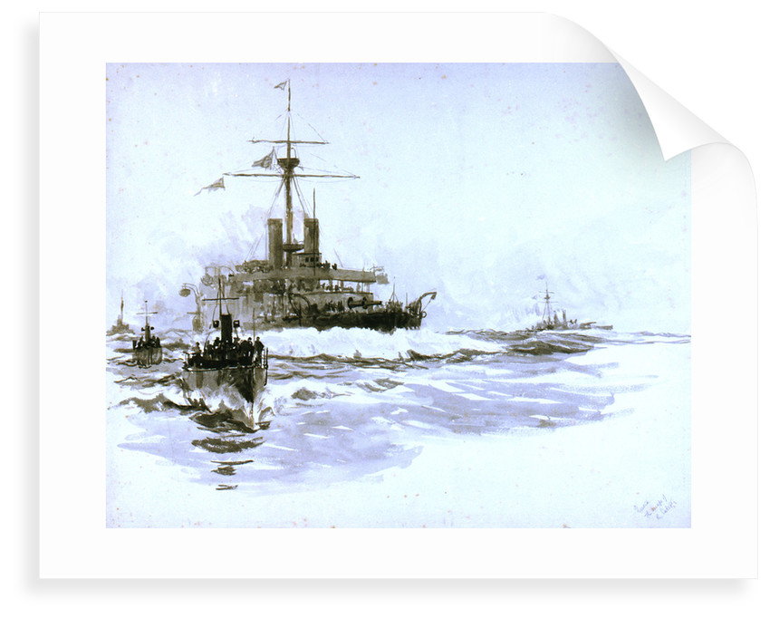 HMS 'Victoria' (1887), just prior to her loss [formerly misidentified as the 'Calliope'] by William Lionel Wyllie