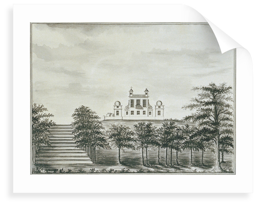 View of the Royal Observatory Greenwich, from the bottom of the hill, with steps leading up by John Charnock