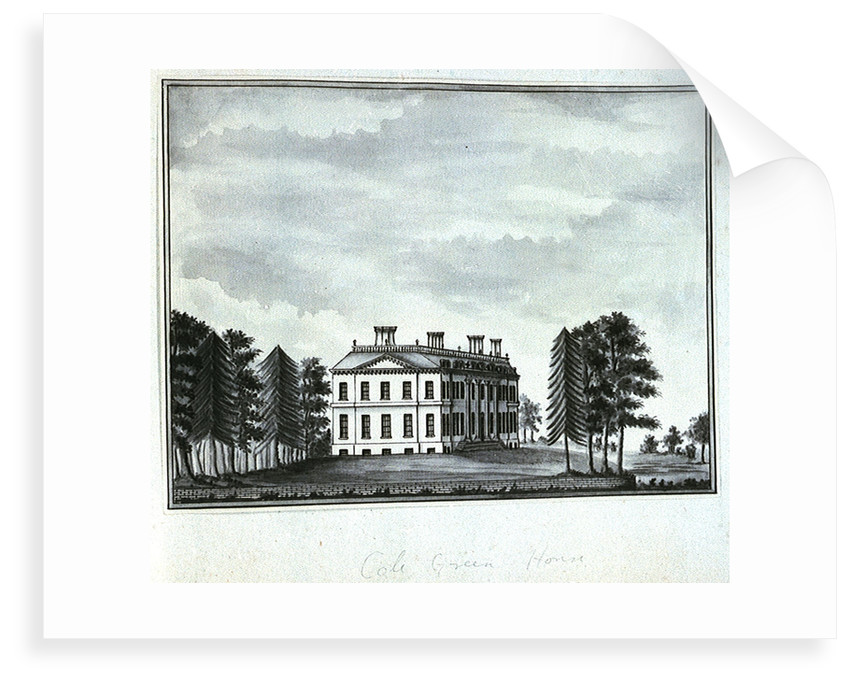 View of Cole Green House, seen from the south east by John Charnock