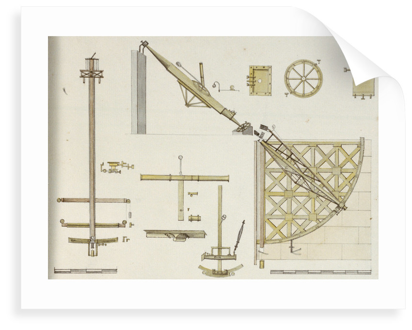 Astronomical instruments including Bradley's Zenith Sector, Sisson's Equatorial Sector and Bird's eight foot quadrant, with scale by John Charnock