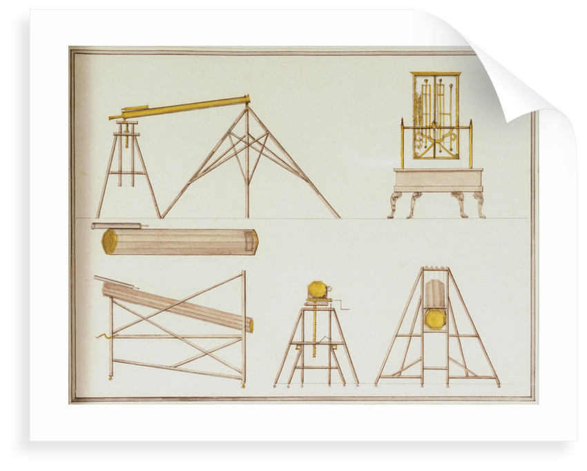 Astronomical instruments including a drawing of John Harrison's marine timekeeper H2 by John Charnock