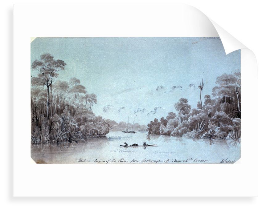 West view of the river from Anchorage off Sarawak Borneo by Edward Augustus Inglefield