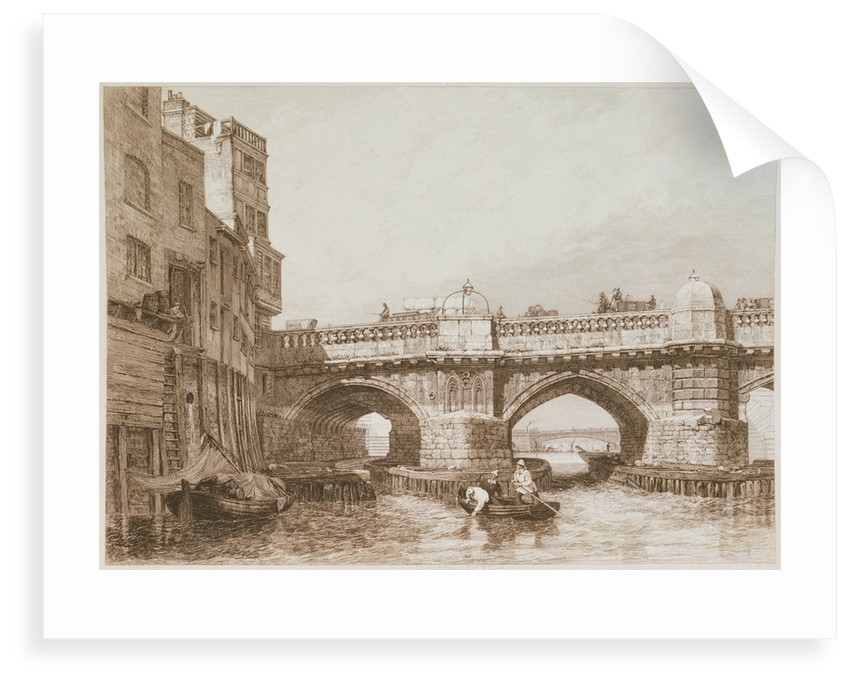 Old London Bridge, with river craft and warehouses by Edward William Cooke
