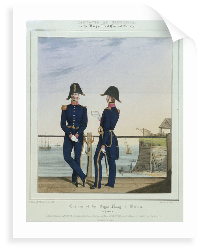 Costume of the Royal Navy & Marines: surgeons in uniform by L. Mansion