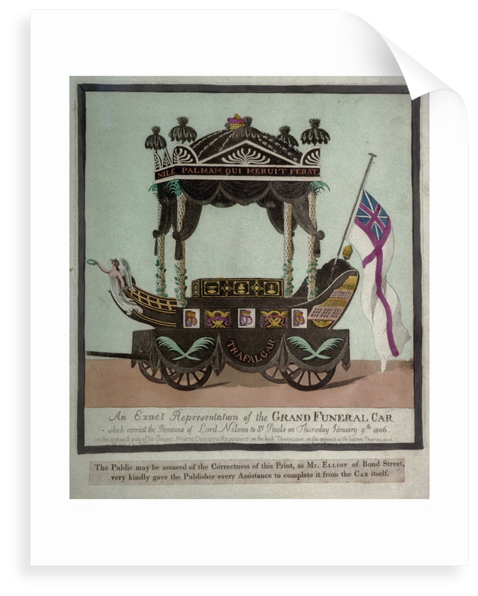 An Exact Representation of the Grand Funeral Car which carried the Remains of Lord Nelson to St Pauls on Thursday January 9th 1806 by S.W. Fores