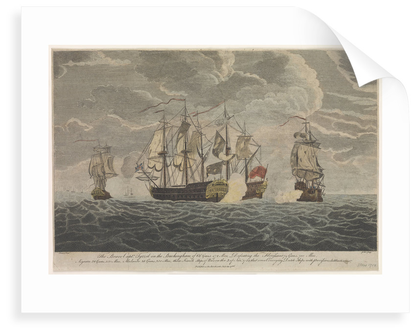 The brave Captain Tyrrel in the 'Buckingham' of 66 guns & 472 men defeating the 'Florissant', 'Aigrette' & 'Atlante', three French Ships of War, the 3rd of November 1758 by Francis Swaine