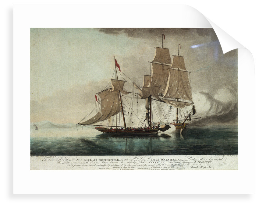 'To the Rt. Honble. the Earl of Chesterfield, & the Rt. Honble Lord Walsingham. - Postmasters General, This Plate representing the Gallant Action between his Majesty's Packet Antelope, & the French Privateer L' Atalante... [2 Dec 1794]'. by Thomas