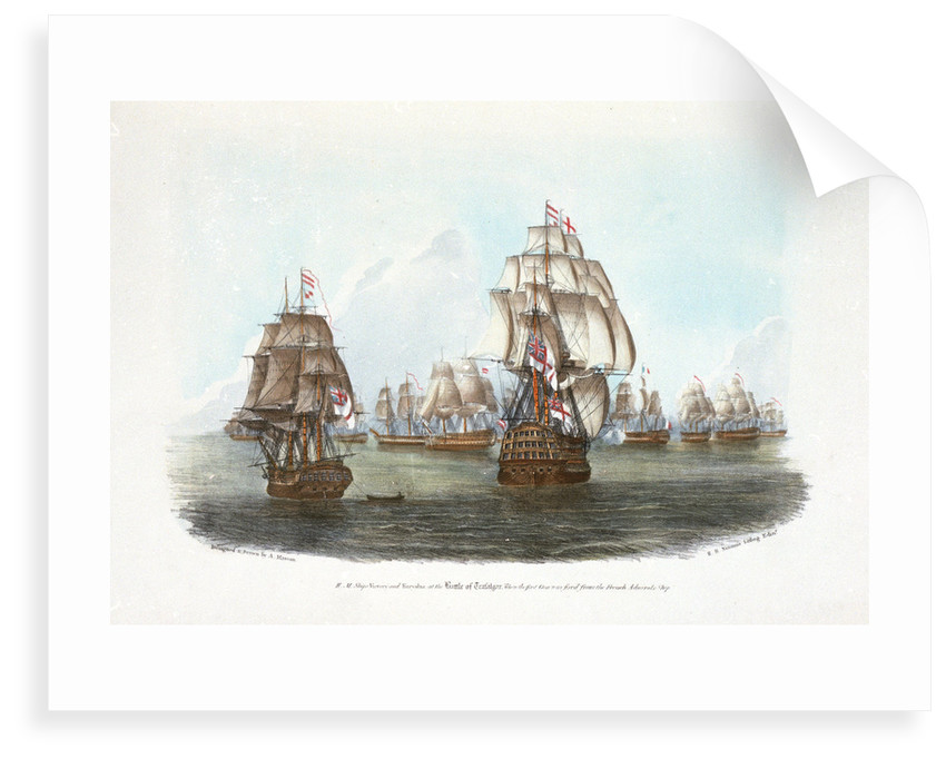 HMS 'Victory' and 'Euryalus' at the Battle of Trafalgar, when the first gun was fired from the French Admiral's Ship by A. Masson