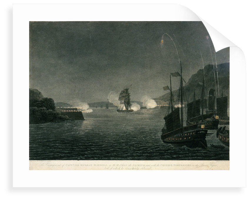 The Engagement of Capt. Sir Murray Maxwell in H.M. Ship the Alceste, 1816, with the Chinese Fortresses on the Bocca Tigris, both of which he immediately silenced by McLeod