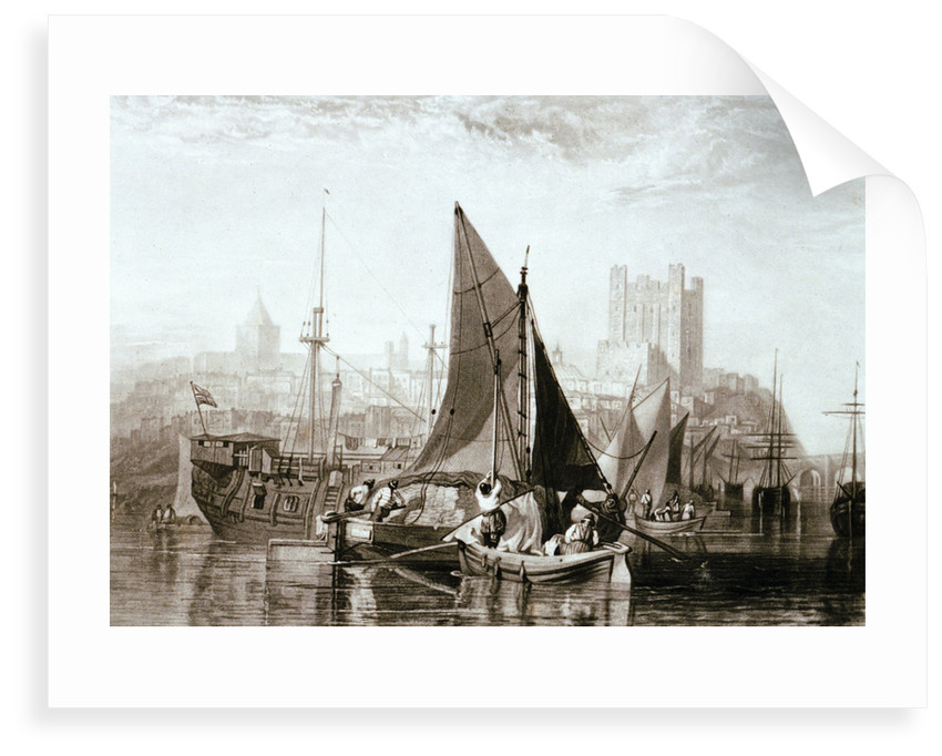Thames barge carrying hay, a prison hulk and other shipping at Rochester, on the River Medway by Joseph Mallord William Turner