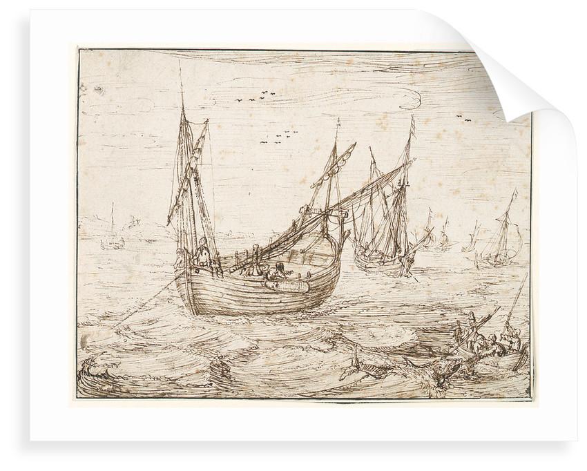 A herring buss catching a large fish by Hendrick Cornelisz Vroom