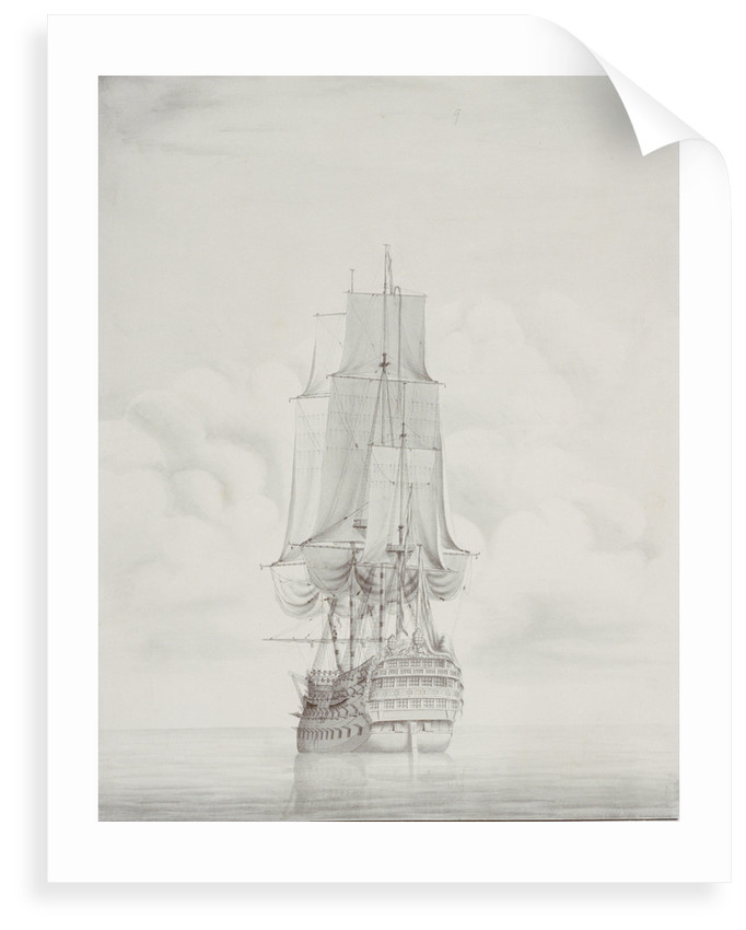 The English ship 'Duke' 90 guns, circa 1750 by John Hood