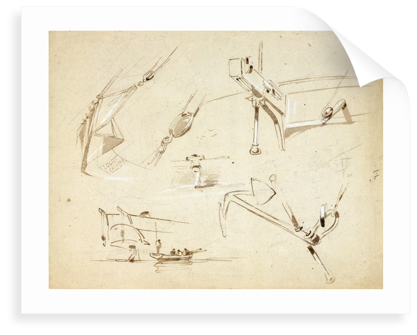 Sketches of two stern views of ships also of an anchor and rigging by Oswald Walter Brierly