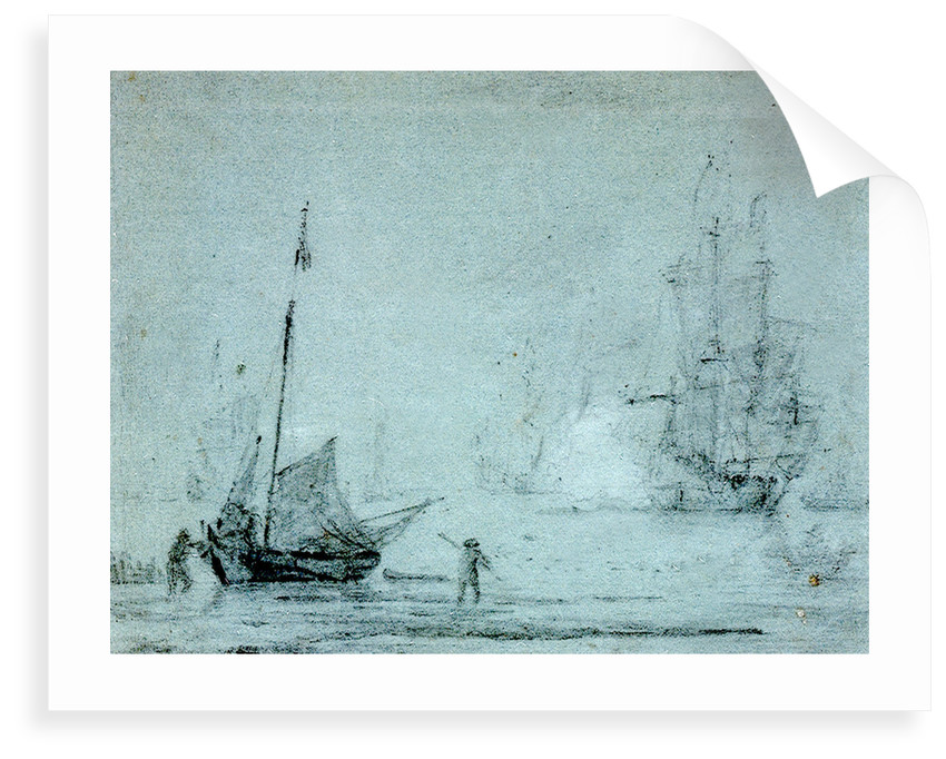 A fishing vessel ashore with fishermen casting a net by Samuel Scott