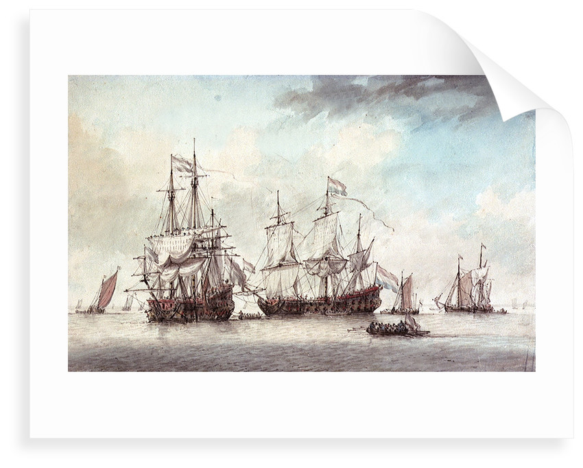 Two Dutch Flagships, early 1780s by Charles Gore